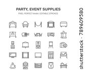 event supplies flat line icons. ... | Shutterstock .eps vector #789609580