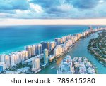 miami beach skyscrapers at dusk ... | Shutterstock . vector #789615280
