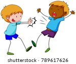 bully boy pushing friend... | Shutterstock .eps vector #789617626