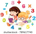 two girls reading math book... | Shutterstock .eps vector #789617740