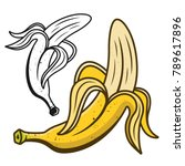 peeled banana vector... | Shutterstock .eps vector #789617896
