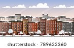 vector art frozen city scene.... | Shutterstock .eps vector #789622360