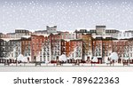 vector art frozen city scene.... | Shutterstock .eps vector #789622363