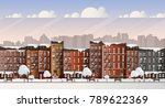 vector art frozen city scene.... | Shutterstock .eps vector #789622369