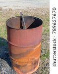 rusty oil barrel isolated | Shutterstock . vector #789627670