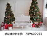 christmas tree with a sofa | Shutterstock . vector #789630088