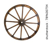 Old Wood Wheel Isolated On A...