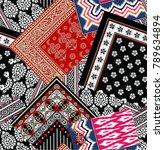 blazing bandanna  pattern | Shutterstock .eps vector #789634894