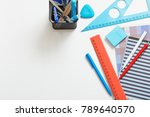 collection of school supplies... | Shutterstock . vector #789640570