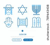 judaism thin line icons set ... | Shutterstock .eps vector #789643408