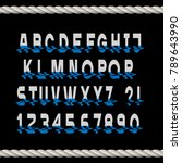 glitch font letters and numbers ... | Shutterstock .eps vector #789643990