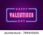 happy valentines day. neon... | Shutterstock .eps vector #789645604