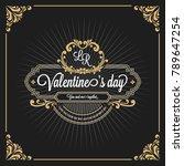 vintage luxury monogram banner... | Shutterstock .eps vector #789647254