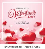 valentines day sale poster with ... | Shutterstock .eps vector #789647353