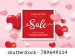 valentine's day sale poster... | Shutterstock .eps vector #789649114