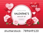 valentines day sale poster with ... | Shutterstock .eps vector #789649120