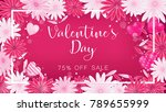valentine floral invitation is... | Shutterstock .eps vector #789655999