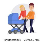 loving young parents with baby... | Shutterstock .eps vector #789662788