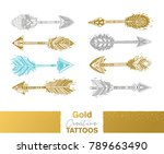 flash tattoo gold  silver and...