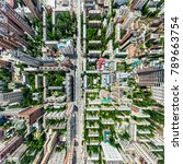 aerial city view with... | Shutterstock . vector #789663754