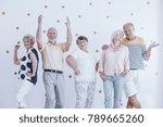 elderly friends dancing and... | Shutterstock . vector #789665260