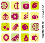 mixed fruit icons collection | Shutterstock .eps vector #78966622