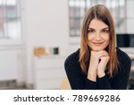 smiling young woman with light... | Shutterstock . vector #789669286