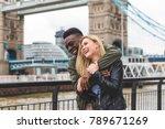 happy multiracial couple in... | Shutterstock . vector #789671269