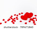 red heart shapes on white... | Shutterstock . vector #789671860
