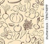 seamless pattern  vegetables... | Shutterstock . vector #789674899