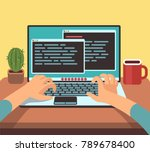 person programmer working on pc ... | Shutterstock .eps vector #789678400