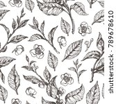 realistic floral seamless... | Shutterstock . vector #789678610