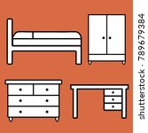 icons of furniture  bed  desk ... | Shutterstock .eps vector #789679384