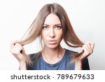 damaged hair. beautiful sad...   Shutterstock . vector #789679633