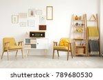 blankets on a ladder near... | Shutterstock . vector #789680530