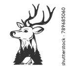 deer vector explosure.forest... | Shutterstock .eps vector #789685060