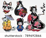 Stock vector set of flash style japanese cat oriental patches or elements traditional asian kitten stickers 789692866