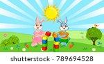 rabbits on the grass | Shutterstock .eps vector #789694528