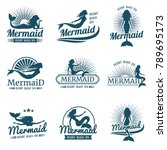 mermaid silhouette stylized... | Shutterstock .eps vector #789695173