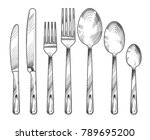 sketch silver knife  fork and... | Shutterstock .eps vector #789695200