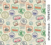 vintage passport travel stamps... | Shutterstock .eps vector #789695233