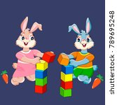 bunnies with cubes on blue... | Shutterstock .eps vector #789695248
