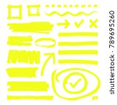 yellow highlighter lines ... | Shutterstock .eps vector #789695260