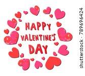 happy valentine's day. vector... | Shutterstock .eps vector #789696424