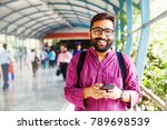 bearded indian man on metro... | Shutterstock . vector #789698539