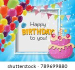 color glossy happy birthday... | Shutterstock .eps vector #789699880
