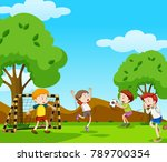 boys playing football in the... | Shutterstock .eps vector #789700354