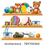 different types of toys on... | Shutterstock .eps vector #789700360