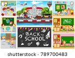 back to school theme with kids... | Shutterstock .eps vector #789700483