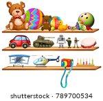 toys on wooden shelves... | Shutterstock .eps vector #789700534